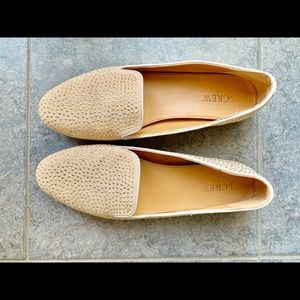 J. Crew nude loafers with shiny gold studs.